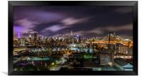 Manhattan Skyline at Night, Framed Print