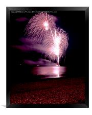 Fireworks out to sea, Framed Print