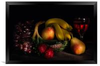 Fruit Still Life With Wine, Framed Print