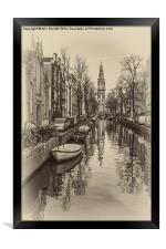 Amsterdam Backwater Sepia, Framed Print