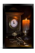 Clock, Candle and Old Keys, Framed Print