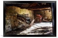 Old Barn and Horse Carriages, Framed Print