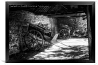 Old Barn and Horse Carriages Monochrome, Framed Print