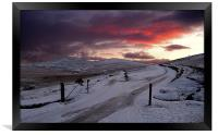 Winter Sunset West Mill and Yes Tor, Framed Print