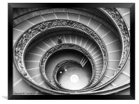 Spiral Staircase of the Vatican Museum, Framed Print