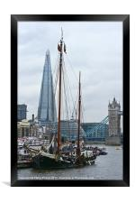 Boats and the Shard, Framed Print
