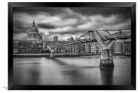 Millennium Bridge and St Paul's Cathedral, London, Framed Print