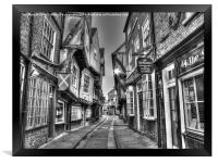 The Shambles York BW, Framed Print