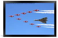 Final Vulcan flight with the red arrows 8, Framed Print