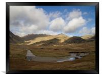 Sky, Mountains and River in the South West Lake Di, Framed Print