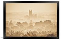 Canterbury Through The Mist, Framed Print