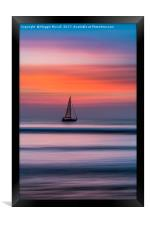 Yacht Sailing At Sunset, Framed Print