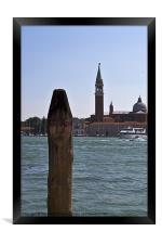 Venetian painted mooring post, Framed Print