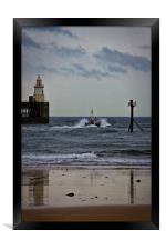 Pilot boat leaving harbour, Framed Print