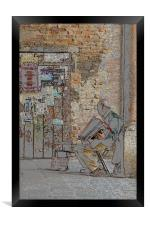Old man and his accordion, Framed Print