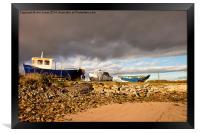 Boatyard under threatening sky, Framed Print