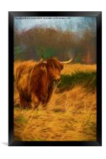 Highland cow with painterly effect, Framed Print
