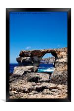 Azure Window, blue sky and blue sea, Framed Print