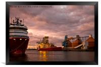 Port of Blyth at dusk, Framed Print