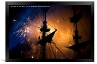Fireworks and Tall Ships, Framed Print