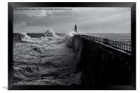 Stormy weather at Tynemouth, Framed Print
