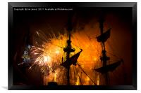Fireworks and Tall Ships 3, Framed Print