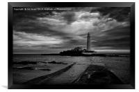 St Mary's Lighthouse and Island in B&W, Framed Print