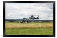 Special services Helicopter meets Tractor, Framed Print