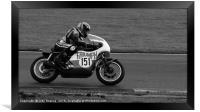 Racing bikes at Snetterton racetrack , Framed Print