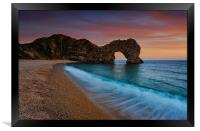 Durdle Door Sunset Wave, Framed Print