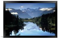Lake Matheson Mountain Reflection, Framed Print