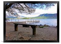 Low Brandelhow jetty Derwent water            , Framed Print
