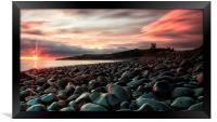 Dunstanburgh castle sunrise, Framed Print