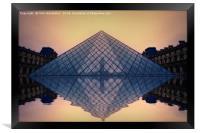 Louvre at sunset., Framed Print