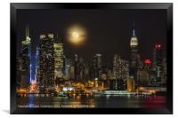 Super Moon Over NYC, Framed Print