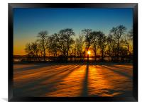 Sunset on snow Kinross, Framed Print
