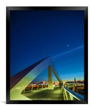 The Squiggly Bridge over the Clyde by Moonlight, Framed Print