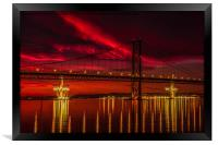 Fiery Sunset over Forth Road Bridge, Framed Print
