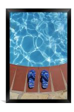 Flip flops by the pool, Framed Print