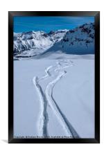 Snowboard tracks, Framed Print