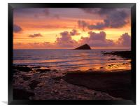 Wembury Bay Sunset, Framed Print