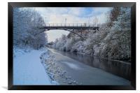 Bridge over frozen Sheffield Canal, Framed Print
