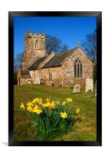 St Andrews Church & Daffodils, Burstock, Dorset, Framed Print