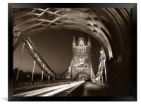 Tower Bridge London at Night, Sepia Toned, Framed Print
