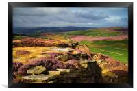 Burbage Rocks and Valley in Summer, Framed Print