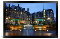Sheffield Town Hall and Peace Gardens at Night , Framed Print