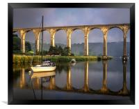 Calstock Viaduct and River Tamar Reflections, Framed Print