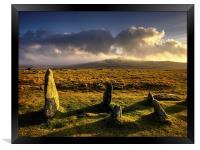 Merrivale Stone Rows Sunset , Framed Print