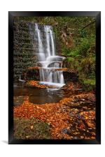 Lumsdale Autumn Leaves and Falls , Framed Print