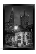 The Shard & Southwark Cathedral at Night , Framed Print